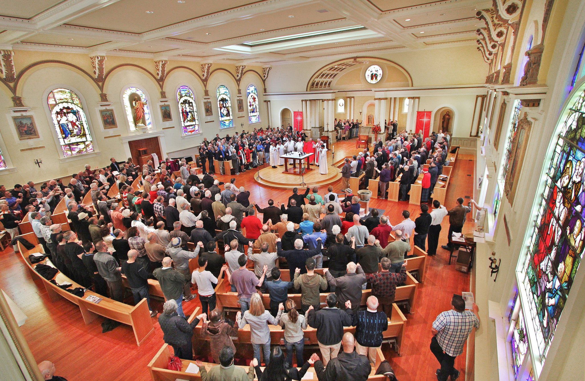 church congregation birds eye view